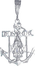 """Sterling Silver Anchor Cross with Virgin Mary and Hearts Charm Pendant 1.5"""""""