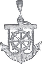 Sterling Silver Anchor Cross Charm Pendant Necklace Diamond Cut Finish and Chain