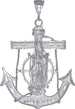 Sterling Silver Anchor Cross with Virgin Mary Pendant Diamond Cut Finish 3.4""