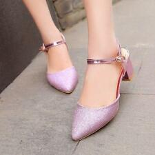 Womens Ankle Strap Pointed Toe Block Heels Shiny party Sandals Shoes Size 10.5
