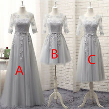 Silver Tulle Bridesmaid Dress Long/Short Prom Formal Evening Gowns Size 4----16