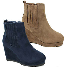 WOMENS LADIES PLATFORM WARM CHUNKY SOLE WEDGE HEEL ANKLE BOOTS SHOES SIZE 3-8