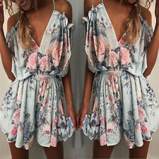 New Boho Womens Cold Shoulder Holiday Mini Playsuit Shorts Summer Beach Jumpsuit