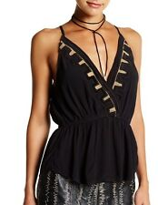 Free People City Streets Plunging Gauze Cami Black Sz XS, M NWT