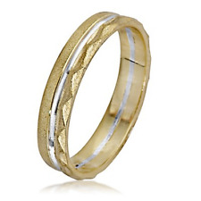 14k Gold Wedding Ring Band Polished White Inlay Yellow Brushed Triangle Cut 4mm