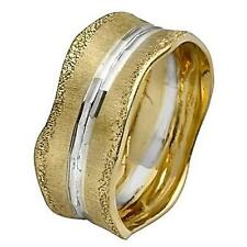 14k Two Tone Gold Wedding Ring Band Diamond Cut Center Brushed Yellow Unique 9mm