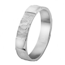 14k White Gold Wedding Band Couple Ring Authentic Hammered & Matte Squares 4mm