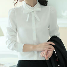Elegant Womens Lady Long Sleeve Bow Tie Lace Collar Career OL Shirt Blouse Tops