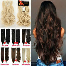 Curly&Straight Hair Extension 100% Real Thick Full Head Clip in Hair Extensions