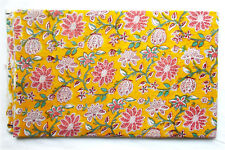 10 Yard Hand Block Print Yellow Dress Material Natural Running Cotton Fabric