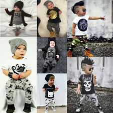 2pcs Newborn Infant Baby Boys Girls Kids Clothes T-shirt Tops+Pants Outfits Sets
