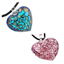 Fashion Lady's Slap-up Lovely heart lampwork glass bead pendant necklace P6V3
