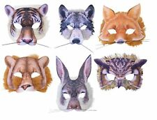 WILD ANIMAL WOLF TIGER FOX OWL LION REALISTIC FUR MASK FOR FANCY DRESS NATURE PA