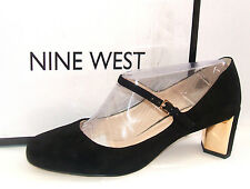 NINE WEST FADILLA SIZE 6 WIDE FIT BLACK REAL SUEDE LEATHER MARY JANE COURT SHOES