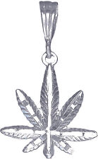 Sterling Silver Marijuana Leaf Pendant Necklace Diamond Cut Finish with Chain