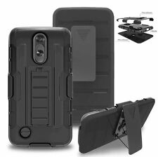 For LG Aristo LV3 MS210 Case Hybrid Rugged Cover With Kickstand&Swivel Belt Clip