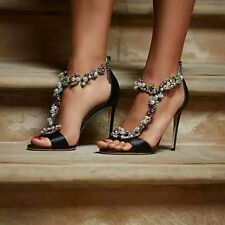 Womens Sexy Celeb Leather Diamante Beaded Open TOE High Heel Pumps Sandals Shoes