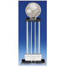 Global Black glass  Football Trophy in 2 Sizes Free Engraving up to 30 Letters