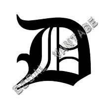 Old English D Letter Initial Vinyl Sticker Decal Font Diploma Choose Size &Color