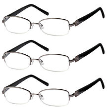 3 Pack High Quality Spring Hinge Metal Reading Glasses Clear Lens Men and Women