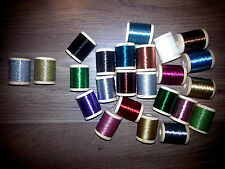 37 SPOOLS SIZE D GUDEBROD & PAC BAY ROD BUILDING METALLIC THREAD UPDATED COLORS