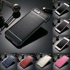 LUXURY Aluminum Soft Feel Bumper Frame Case&Leather Cover For iPhone 5 6 7 Plus