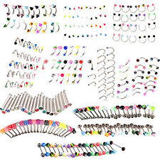 20PCS EYEBROW LIP TONGUE NOSE NAVEL BELLY BUTTON RINGS BODY PIERCING EARNEST