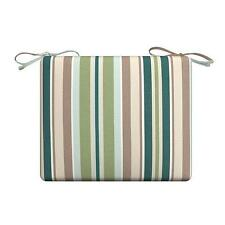 Green Beige Vintage Stripe Outdoor PATIO SEAT CHAIR CUSHION PAD - 5 SIZES