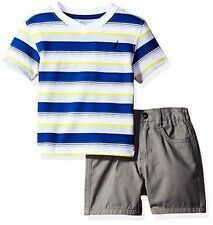 Nautica Baby Boys' Striped V-Neck Tee and Flat Front Short Set