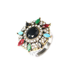 Women fashion Unique Plated Ancient Gold Colored Crystal Round Ring Size 7# -10#