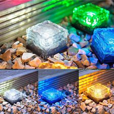Crystal LED Lamp Pathway Brick Outdoor Landscape Solar Powered Garden Lawn Light