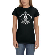 Navy Seals Skull AR-15 Rifles Guns 2nd Amendment Patriotic Women's T-Shirt Tee
