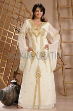 CREAM ARABIAN STYLE KAFTAN MAXI DRESS FANCY WEDDING GOWN DRESS THOBE JILBAB 3146