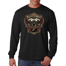 American Steel Biker Forever Motorcycle Chopper Engine Long Sleeve T-Shirt