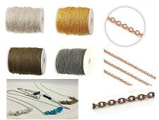 Fine Metal Chain Cable Oval Link Jewellery Making Chain Finding 4 Colors 3 X 2mm