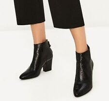 ZARA NEW SS17 EMBOSSED LEATHER HIGH HEEL ANKLE BOOTS BLACK 6142/101