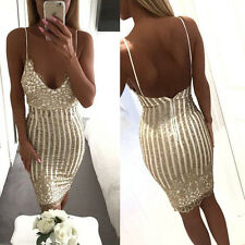 Sexy Elegant Summer Solid Deep V Neck Sleeveless Sequined Open Back Party Dress