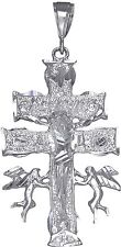 Large Heavy Sterling Silver Caravaca Cross Pendant Necklace. Diamond Cut Finish