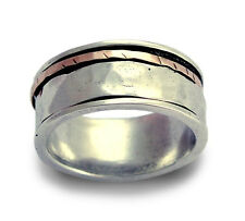 925 Sterling Silver Gold Spinner Ring Red & White Grooved Hammered Band 9mm New