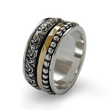 925 Sterling Silver Gold Spinner Ring Oxidized Beaded Hammered Patterned 9mm