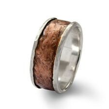 925 Sterling Silver Copper Rustic Classic Ring Hammered Brushed Handmade 19mm