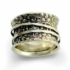 925 Sterling Silver Ring Oxidized Hammered Filigree Design Handmade Band 14mm