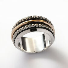 925 Sterling Silver Brass 3 Spinner Ring Band Beaded Domed Handmade Gift 11mm