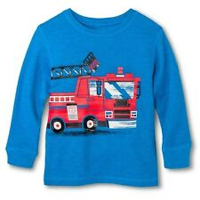 Circo Toddler Boys Long Sleeve Fire Truck  T- Shirt - Blue