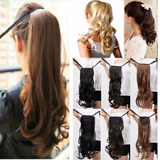 Lady 100% Real Natural Ponytail Clip In Hair Extension Tie Up Pony Tail Straight