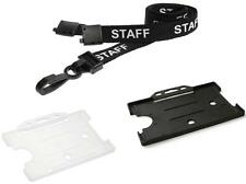 STAFF Printed Neck Strap Lanyard And Card Pass Badge ID Card Holder - FREEPOST