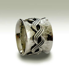 925 Sterling Silver Spinner Band Twist Wave Design Wide Handmade Oxidized 16mm