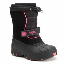 Totes Girls Winter Boots Jenna Grade Leather Man Made Black Kids size 5 NEW