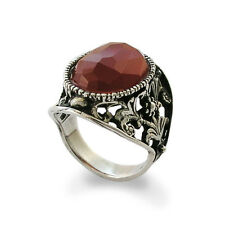 925 Sterling Silver Solitaire Ring Filigree Ornament w/ Red Carnelian Stone 24mm