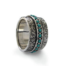 925 Sterling Silver Floral Spinner Vintage Wide Ring with Turquoise Stones 13mm